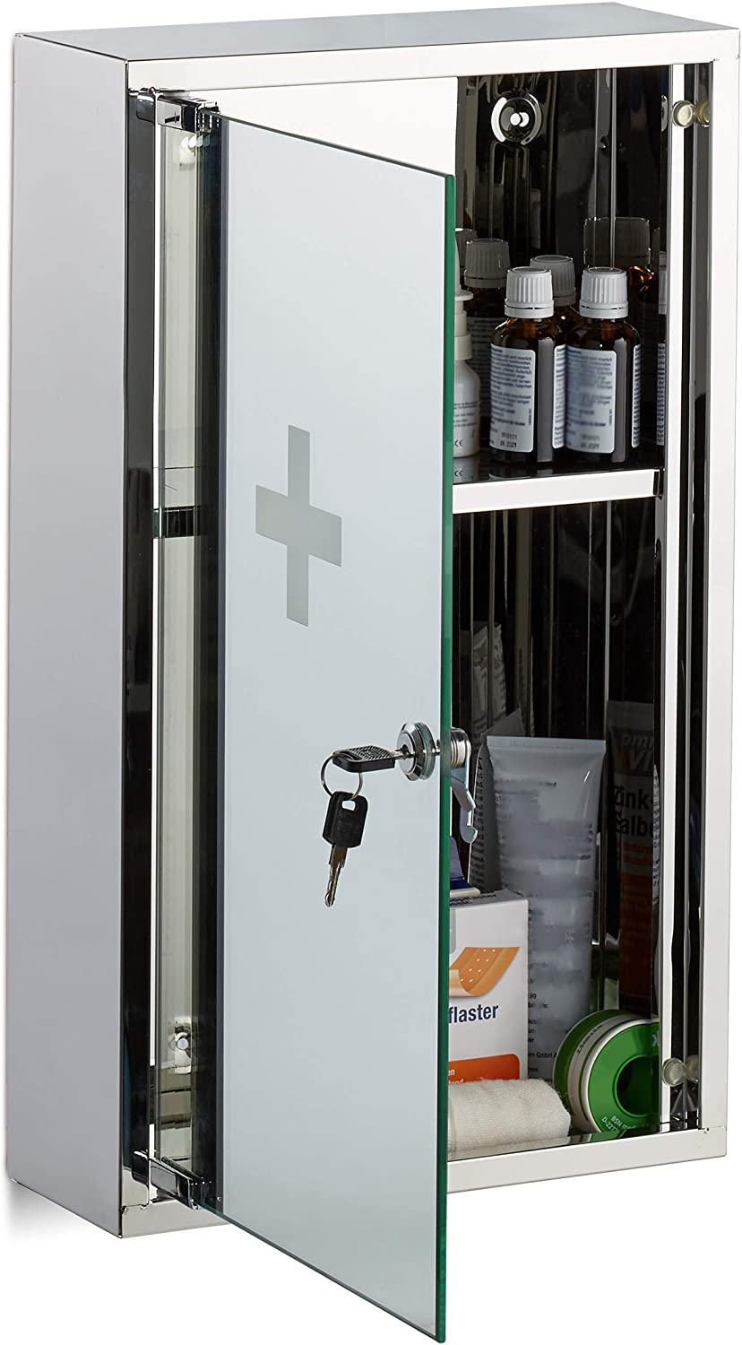 Relaxdays Stainless Steel Medicine Cabinet, Lockable Mirror Door, 2 Compartments, Home Pharmacy, H x W x D: app. 50 x 30 x 11 cm, Silver