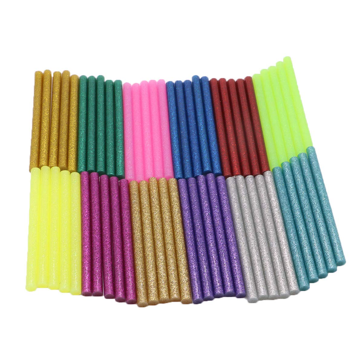 YEJI 60Pcs (12 Color)Hot Glue Sticks 0.27'' Diameter 4'' Length, Hot Melt Glue Sticks Mini Glitter for DIY Art Craft Woodworking, Suitable for Mini Hot Glue Gun Toy &DIY Repair Accessories