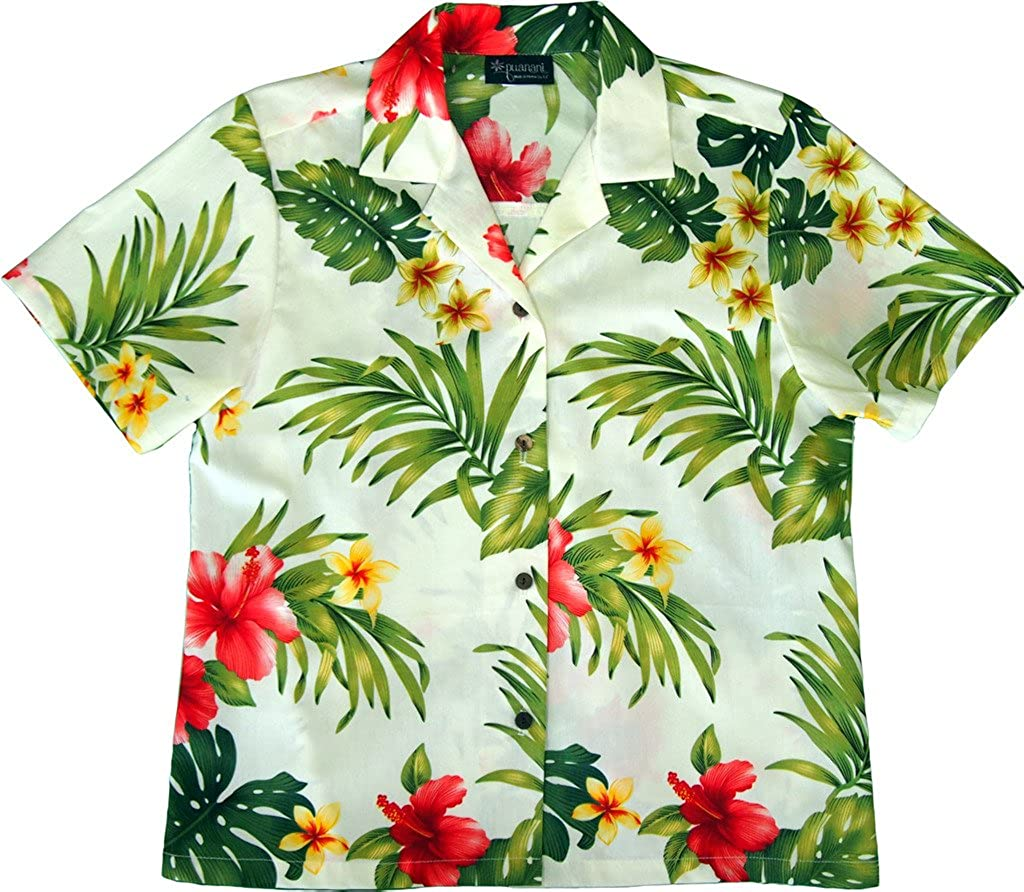 Cream RJC Women's Hibiscus Tropics Hawaiian Camp Shirt
