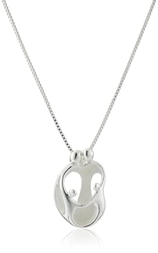 Sterling Silver Loving Family Parents with Two Children Pendant Necklace