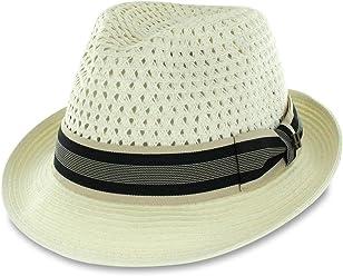 cc9d20a342497 Men Women Summer Woven Straw Trilby Fedora Hat in Ivory Tan Black