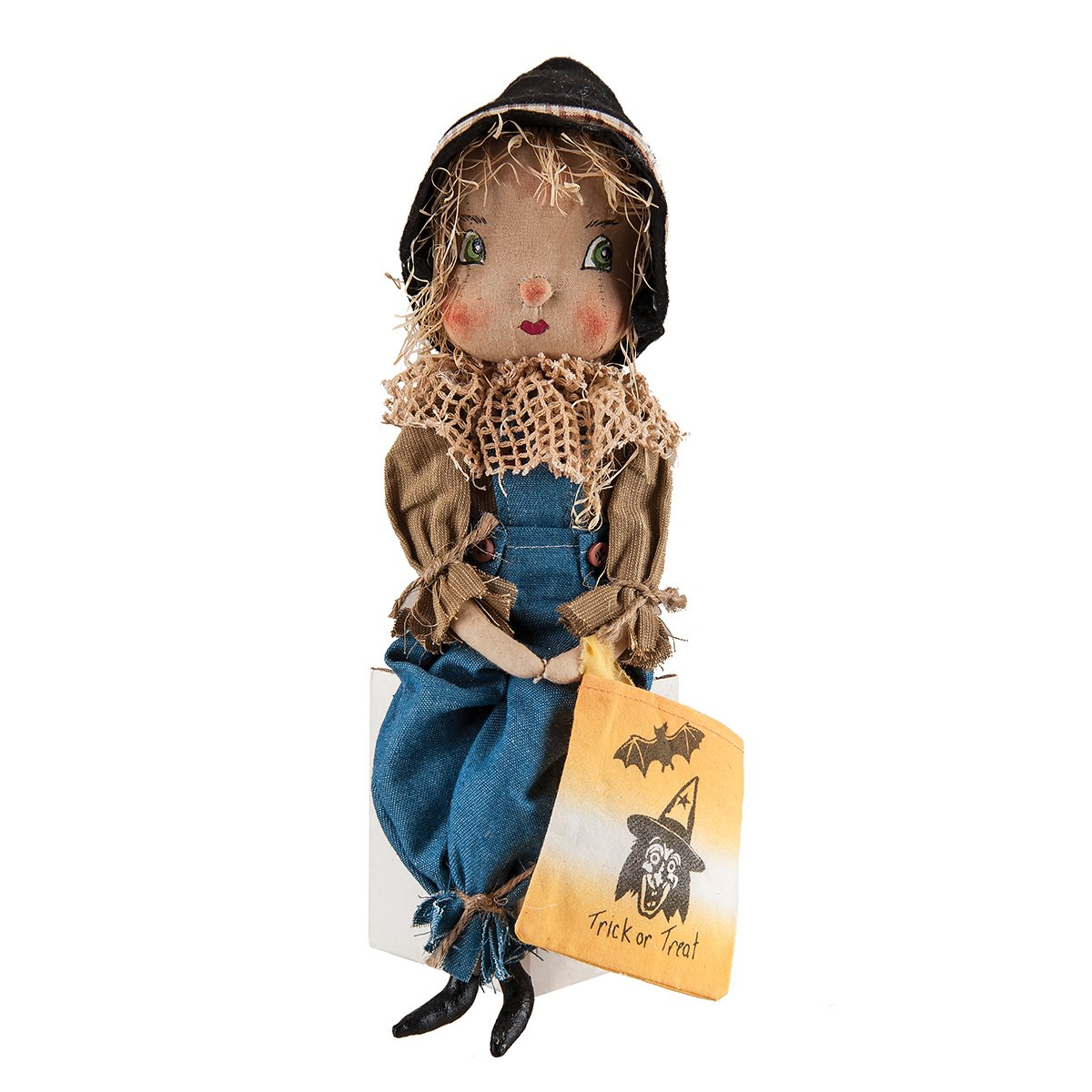 Home Decor Willis Scarecrow Boy Fabric Figurine with Hand-Painted Face