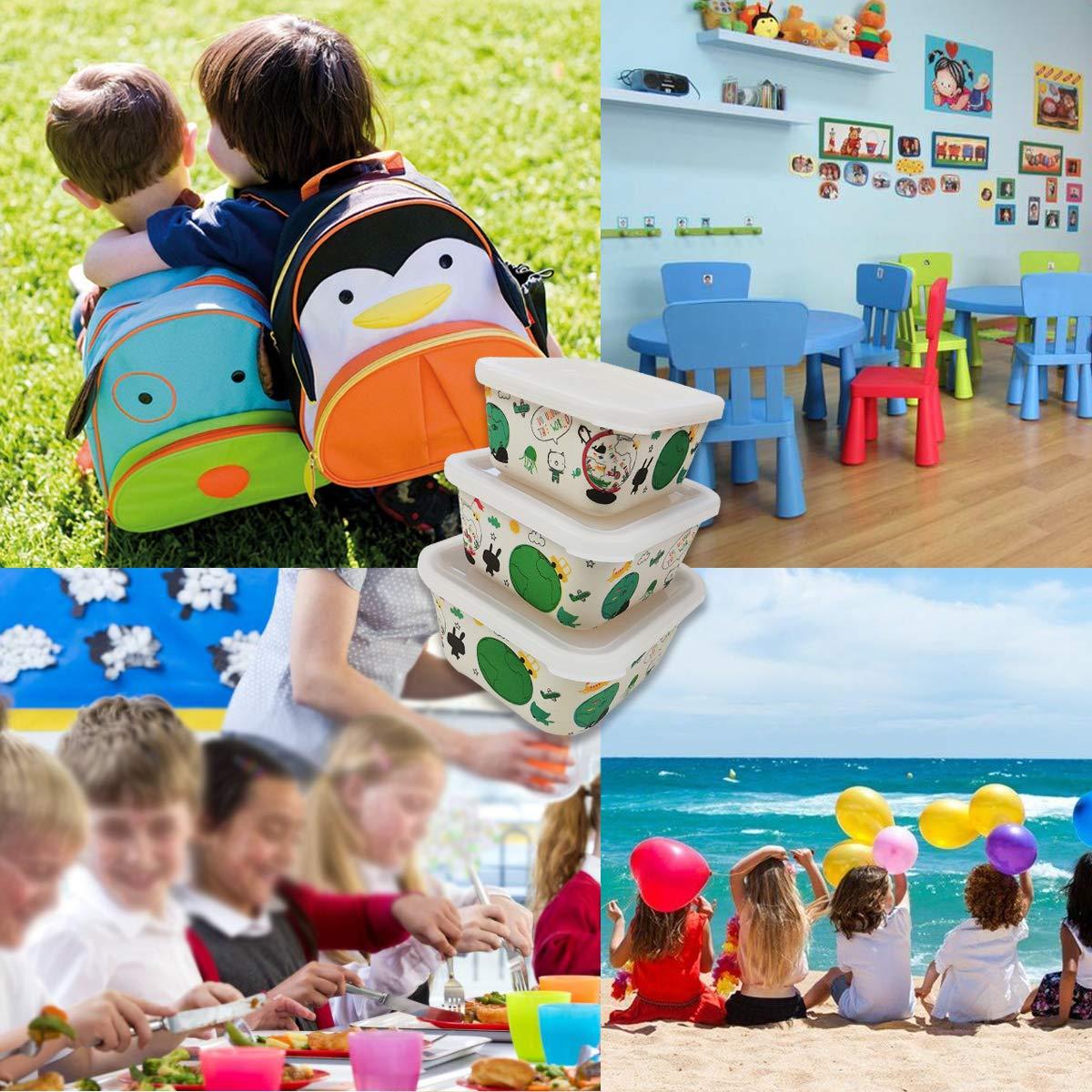 3 Tupper Bamb/ú Infantil,Fiambrera desayuno,Ideal para beb/é y ni/ño,Apto para lavavajillas-b/úho azul