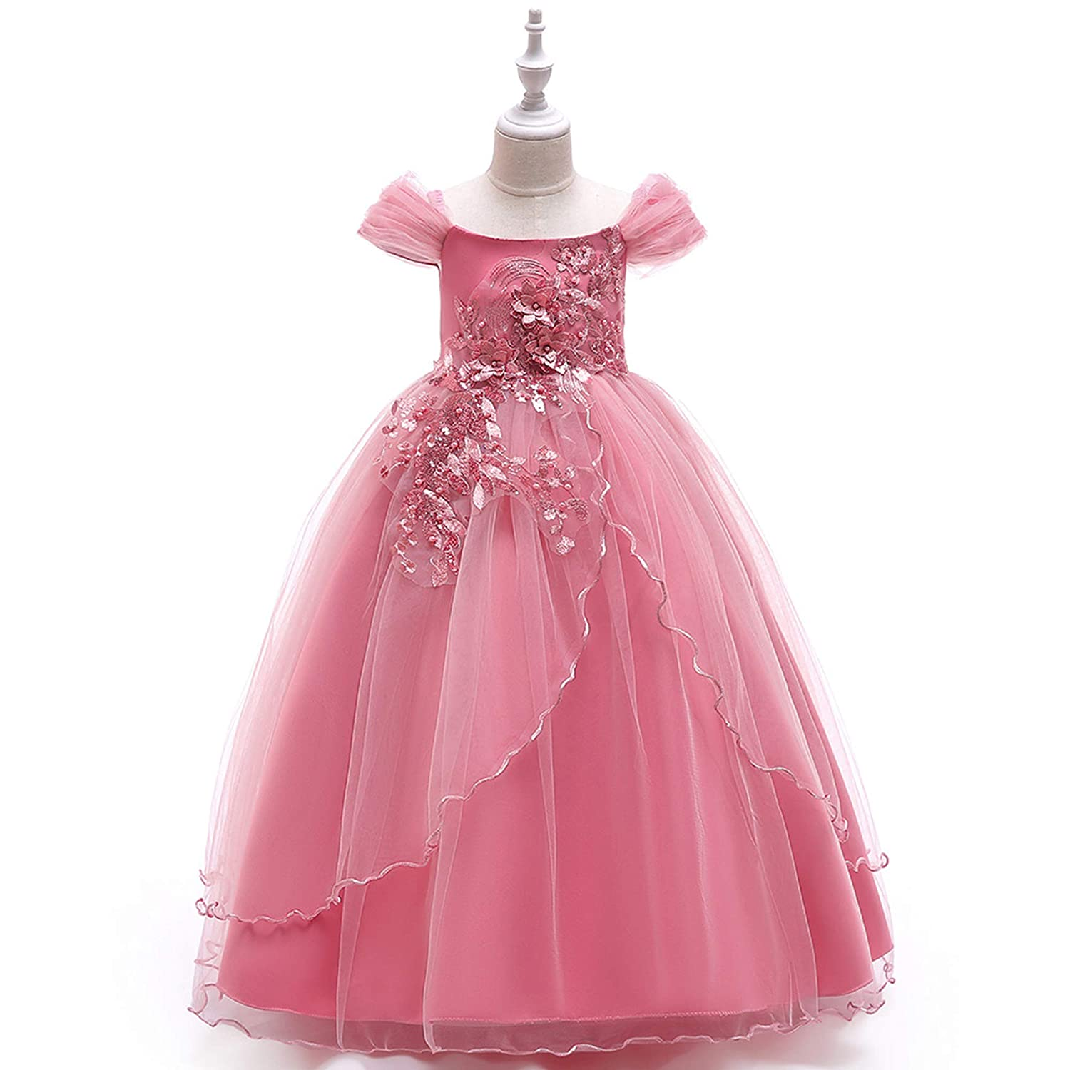 Amazon.com  NOMSOCR Kids Lace Costume Long Dress Girl Prom Ball Gown  Christmas Party Princess Dresses (7-8 Years 8897cba737c1