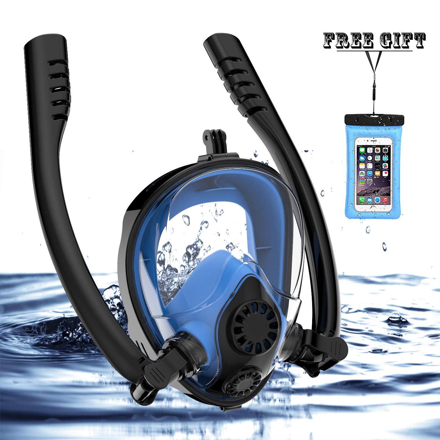 Full Face Snorkel Mask, HJKB K2 Free Breathing Snorkeling Mask with Double Tubes and 180° Panoramic Viewing, Zero Fog and Anti Leak Guarantee with Camera Mount for Adult (Black + Blue, Medium Adult) by Jahuite (Image #1)