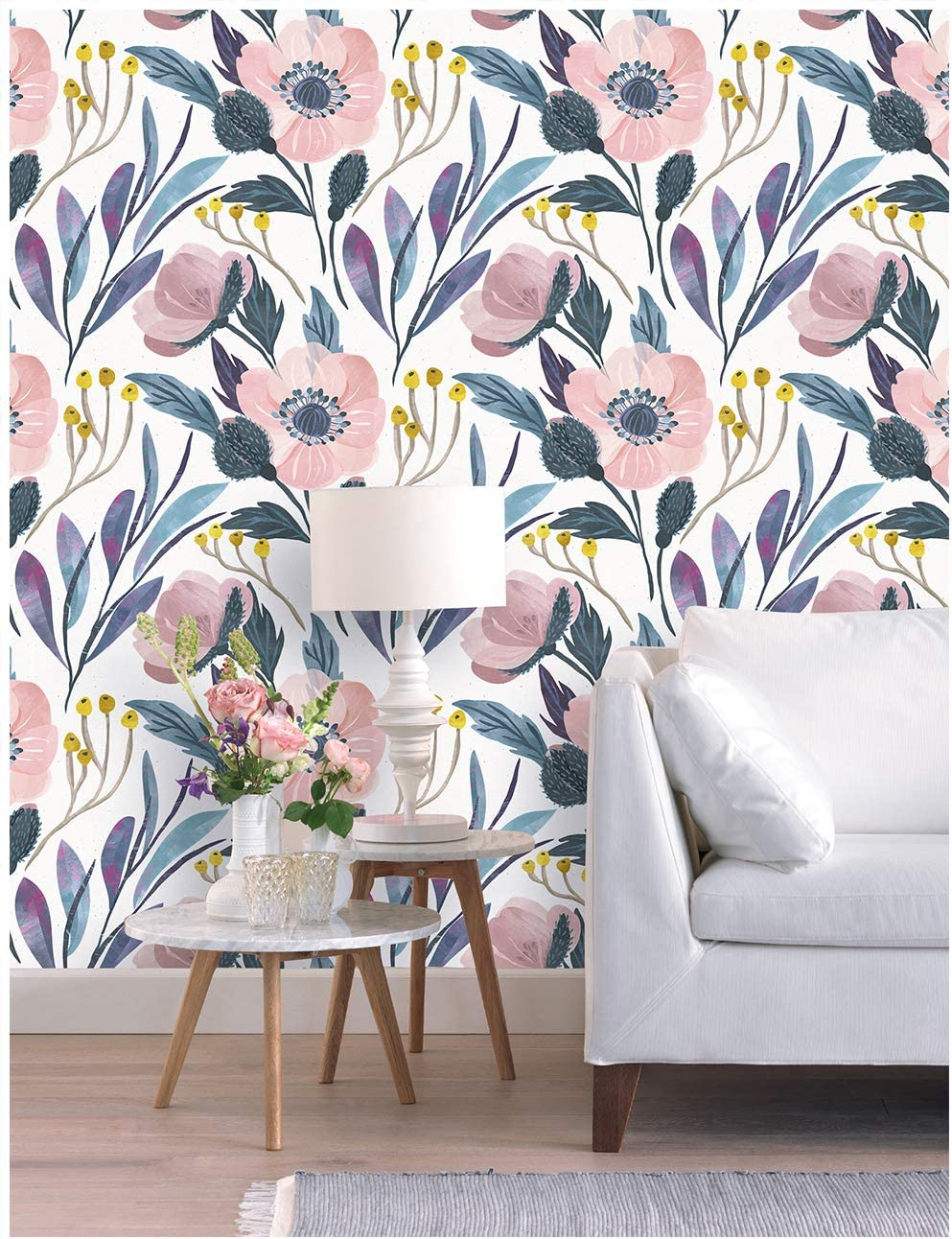Haokhome 93019 Watercolor Peony Floral Peel And Stick Wallpaper