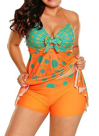5fb42f0d79c Aleumdr Womens Sweetheart Halter Backless Polka Dots Tankini Top Set  Swimsuits Shortini Swimwear with Swim Shorts
