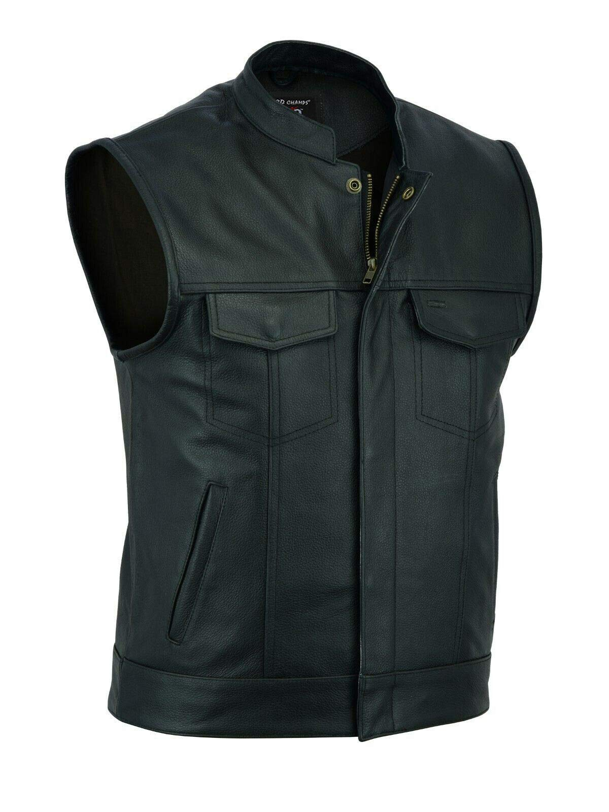 ARD Men's SOA Motorcycle Genuine Cowhide Leather Club Style Vest with Concealed Gun Pockets New S-6XL (Medium)