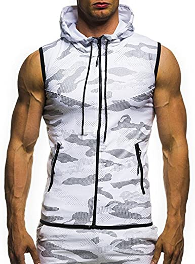 Qinnyo Mens Sports Tank Tops for Men Fitness Pullover Tee Shirt Bodybuilding Vest Camouflage Blouse Sweater M-2XL