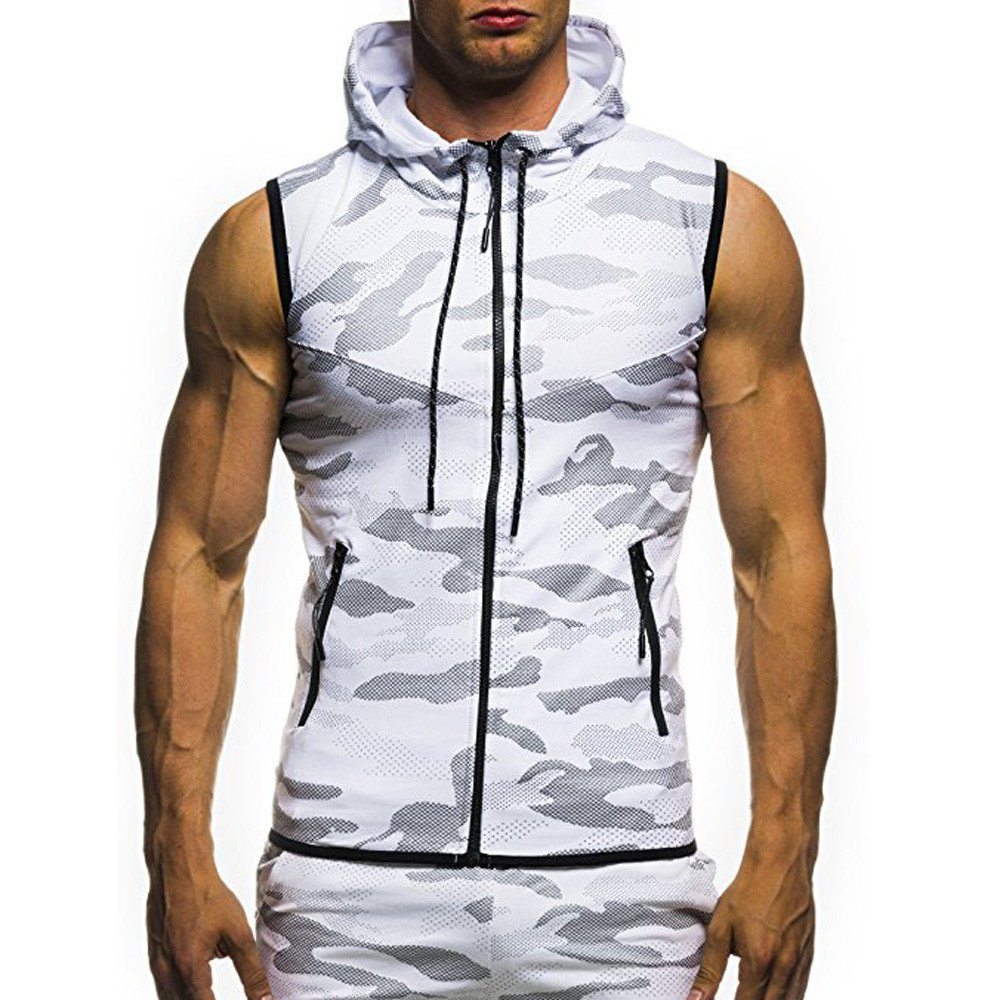 TEVEQ Men's Tank Top Summer Casual Camouflage Print Hooded Sleeveless T-Shirt Top Vest Blouse by TEVEQ-shirt