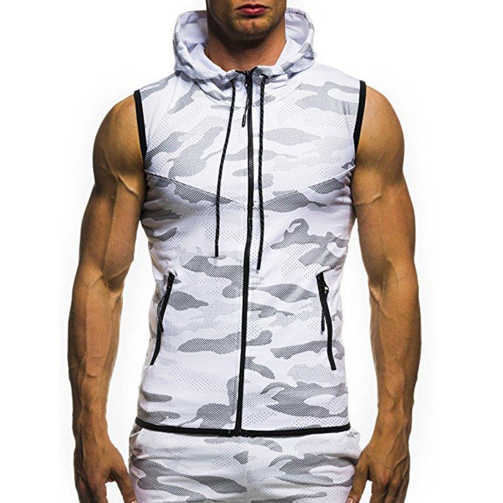 CSSD Men's Sleeveless Hoodies, Men's Workout Camouflage Print Sweatshirt Bodybuilding Muscle Cut Off Slim Gym Round Neck Sport Shirt (L, White)