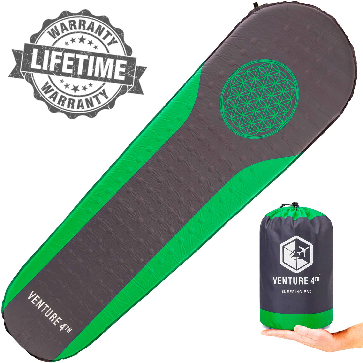VENTURE 4TH Self Inflating Camping Pad - No Pump or Lung Power Required - Warm, Quiet and Supportive Camp Mattress - Sleeping Bag Air Mattress (Green/Gray) by VENTURE 4TH