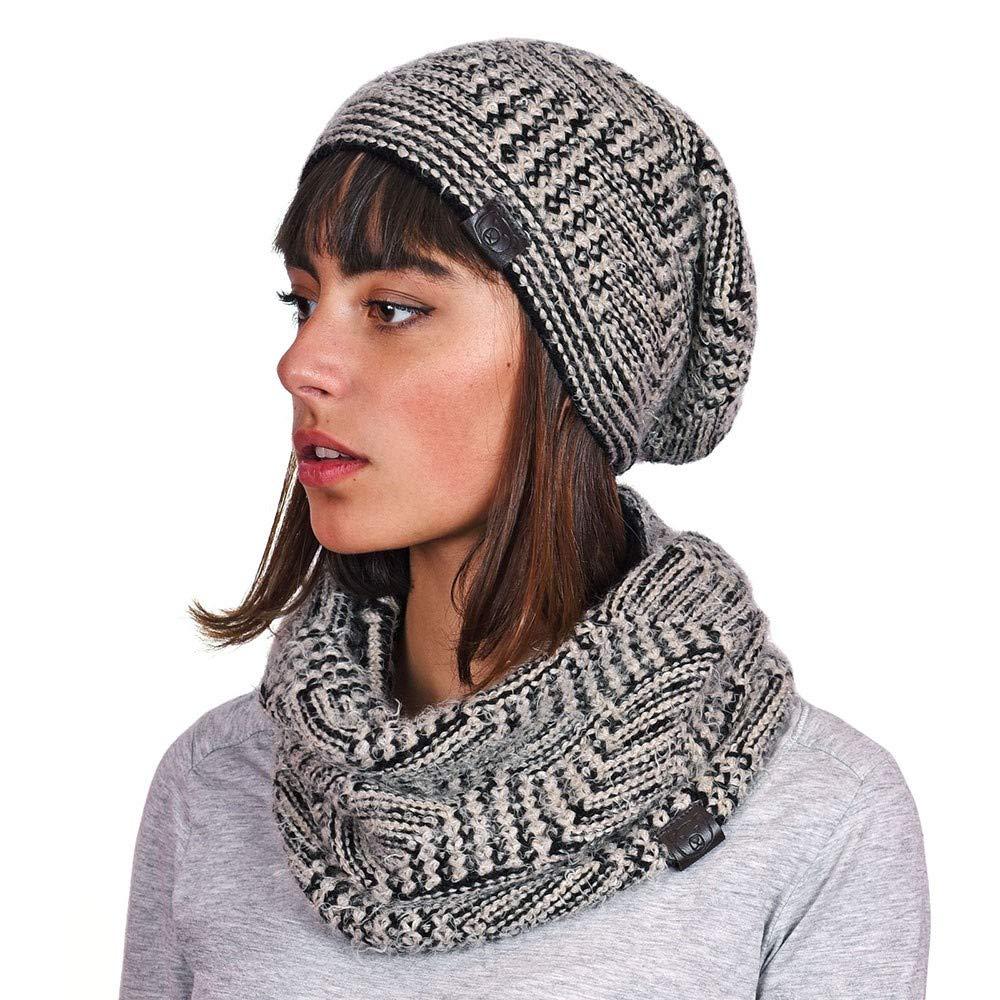 01e15a65bea18 Mokalunga Snood et bonnet Agora Noir - Fabriqué en europe: Amazon.fr:  Vêtements et accessoires