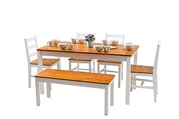 YAKOE Kiefer Massiv Tisch Und 4 Stühle/1 Bank Modernes Esszimmer Set, Holz