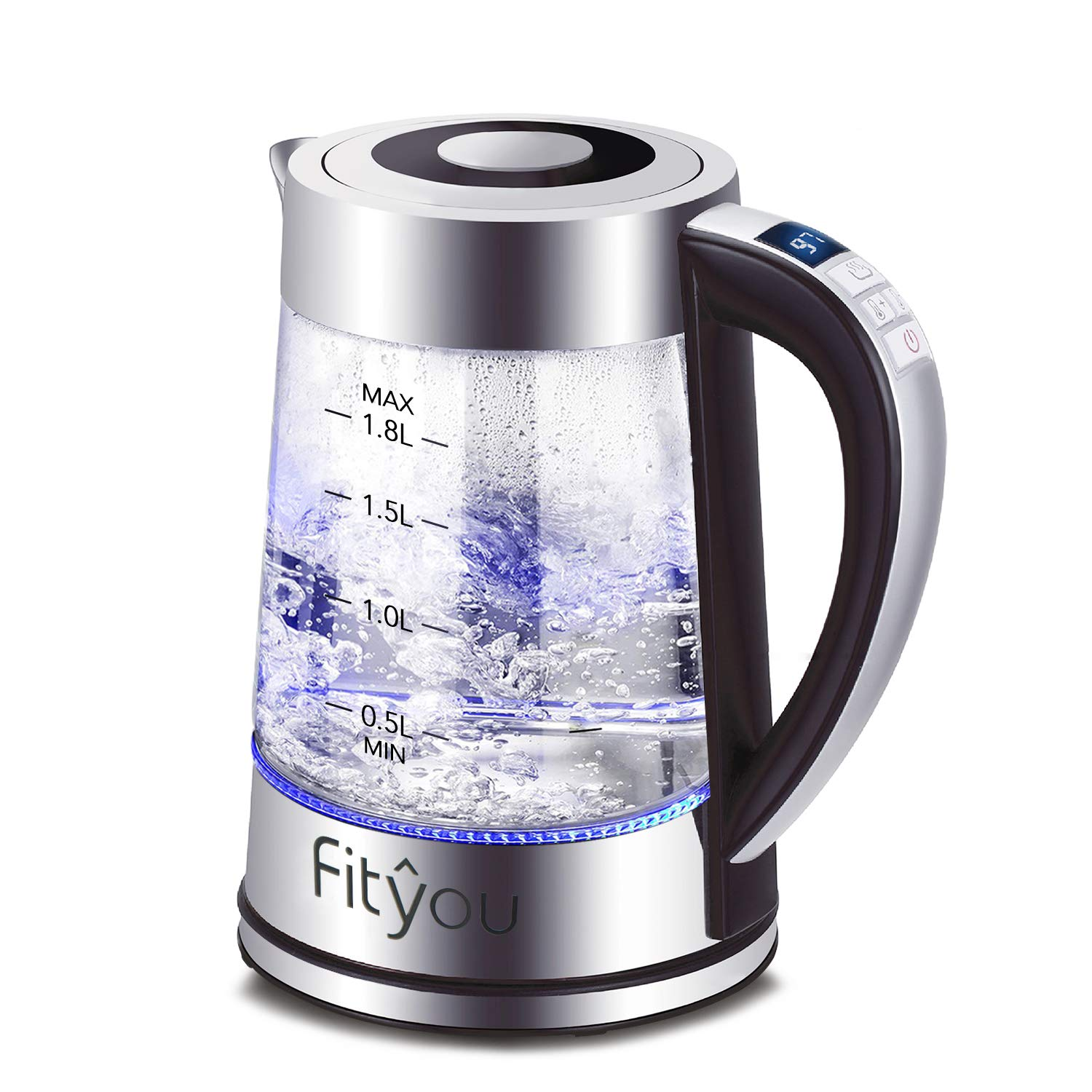Electric Kettle, Fityou 1.8L 1500W Cordless Glass Water Boiler Tea Pot with Stainless Removable Infuser, Freely Temperature Setting(40℃-100℃), 24Hrs Keep Warm Function, Blue LED Display, Auto Shut-off