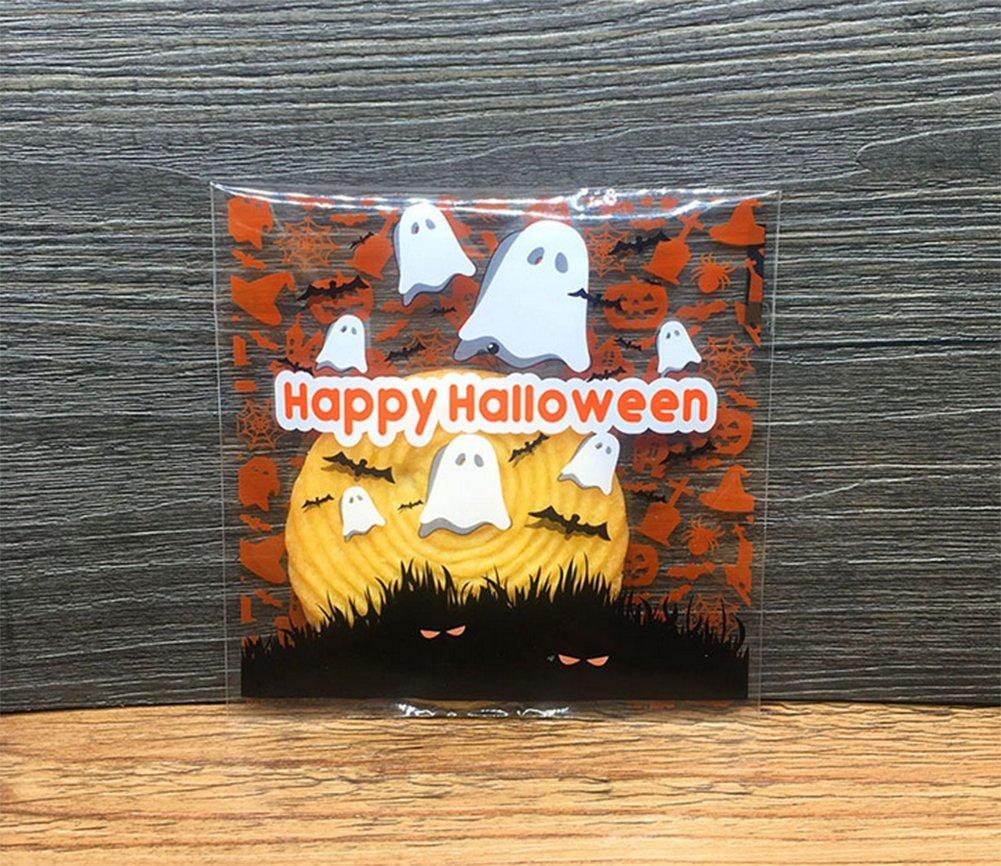 100pcs Demarkt Celofán Bolsas Bolsa de plástico OPP Galletas Del Caramelo Bolsas Autoadhesivo Patrón de Halloween para las galletas del caramelo de la ...
