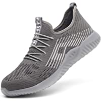 SUADEX Indestructible Shoes Work Safety Shoes for Men Women Steel Toe Shoes Lightweight Breathable Toe Sneakers Construction Working Shoes for Hiking Trail Tennis 115 Grey Size 9.5 Women / 8 Men