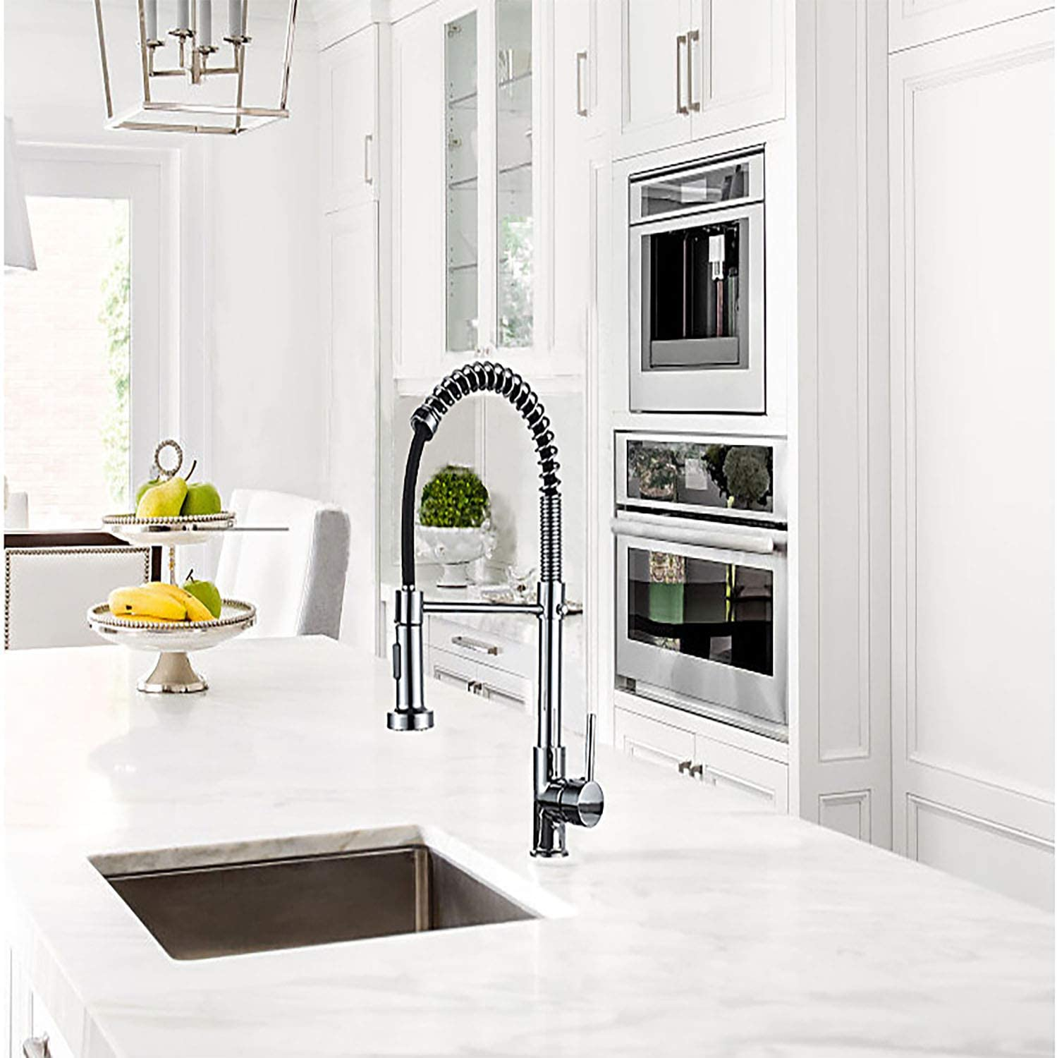 Modern Single Handle Spring Kitchen Sink Faucet with Pull Out Spray Head,2-Modes Spray Kitchen Mixer Tap 360/°Swivel