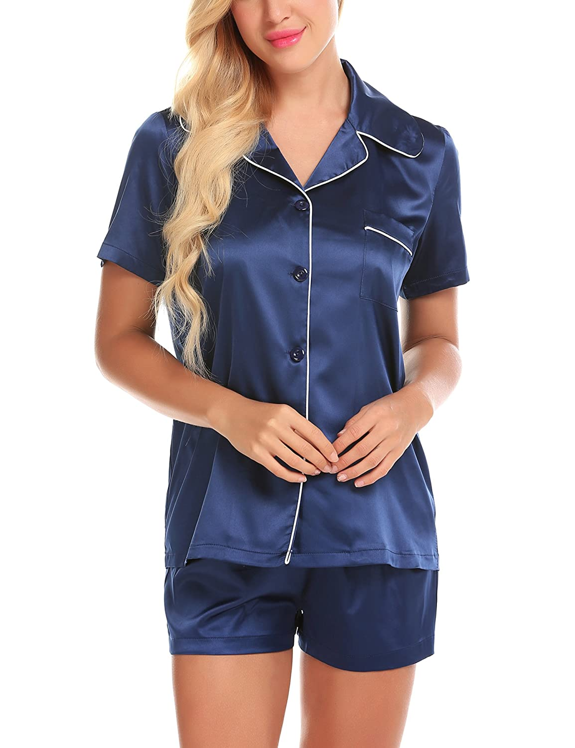 Summer Pajamas for Women Satin Short Sleeve with Shorts Pockets Button up Pj Set