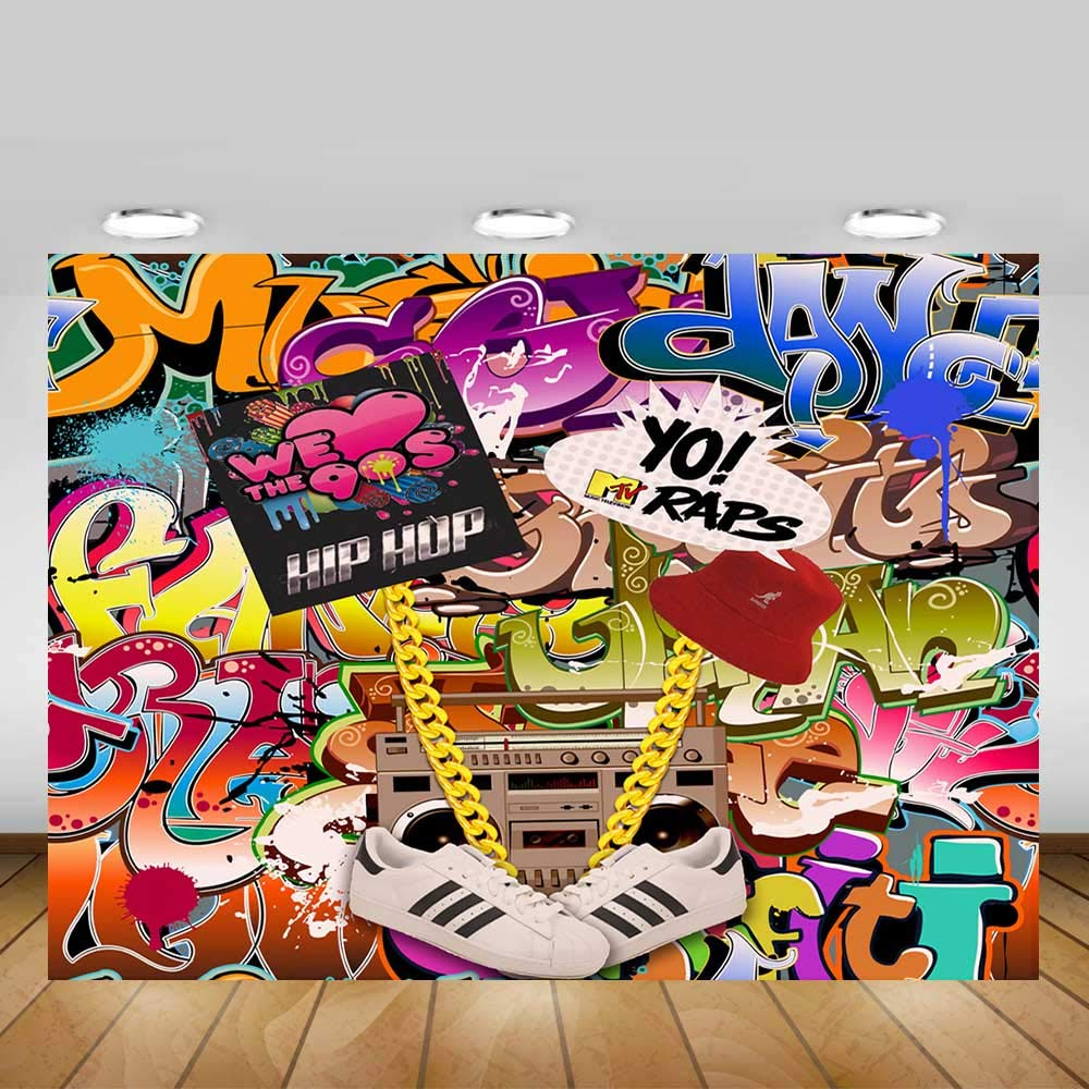 Fanghui 9x6FT Hip Pop 80's 90's Backdrop Graffiti Music Themed Party Background 80s 90s Style Banner Decoration Photo Booth Props