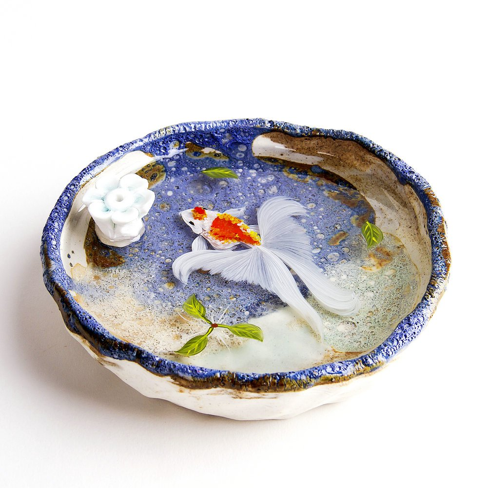 Artcer Ceramic Handmade Lotus Incense Holder Golden Fish Painting Ash Catcher Plate,White-Blue by Artcer (Image #3)