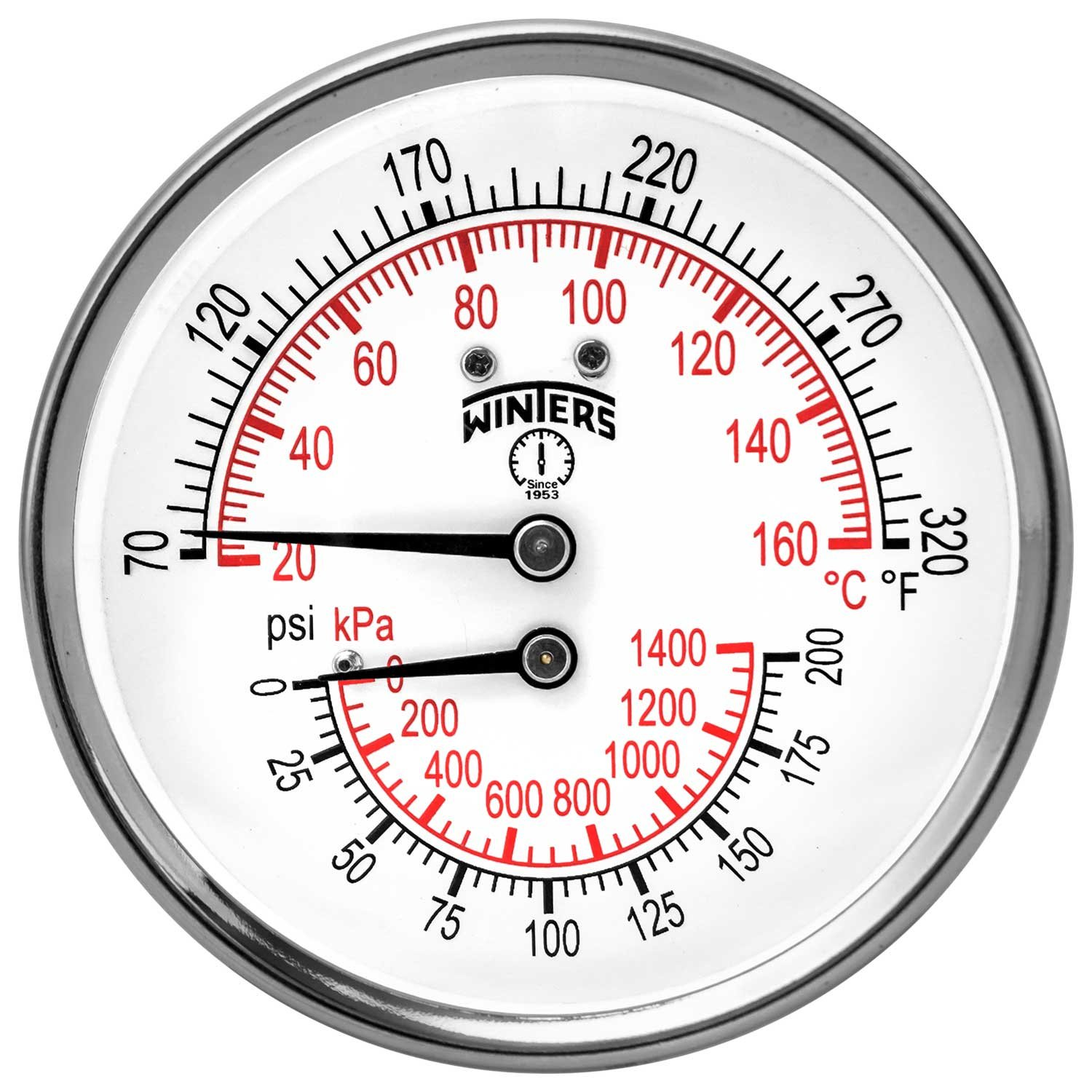 Winters TTD Series Steel Dual Scale Tridicator Thermometer with 2'' Stem, 0-200psi/kpa, 3'' Dial Display, ±3-2-3% Accuracy, 1/2'' NPT Back Mount, 70-320 Deg F/C