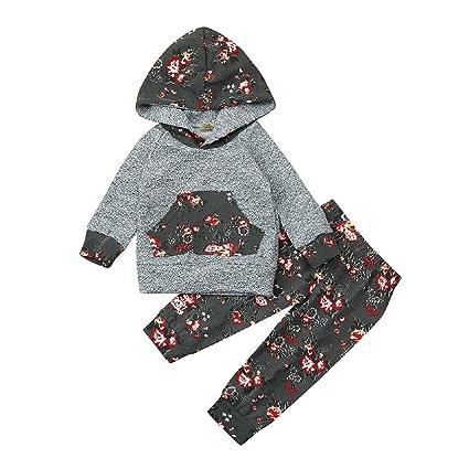 Juego de ropa de bebé, ppbuy infantil bebé niña flores con capucha Tops + Pants 2pcs Disfraces Set: Amazon.es: Oficina y papelería