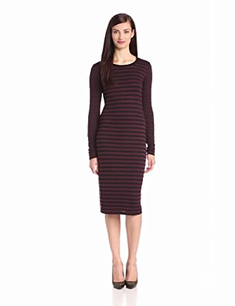 Three Dots Women's Long Sleeve Mid Length Fitted Crew Neck Dress, Cadet, X-Small