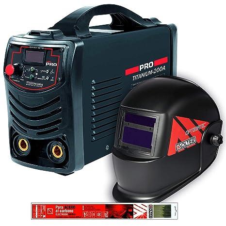 Pack de soldador Invérter Titanium 200A Cevik con pantalla electrónica y electrodos Solter