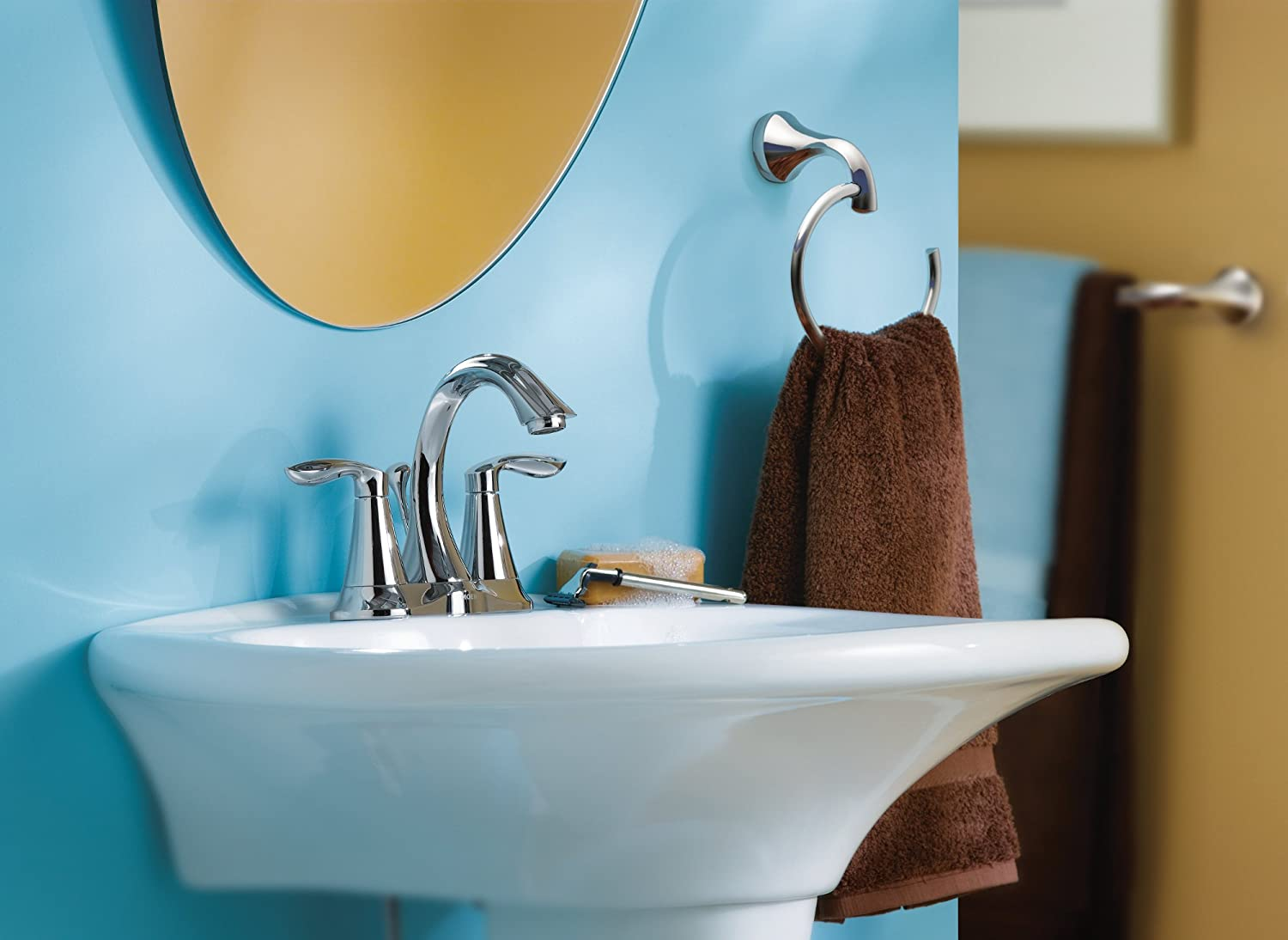 Moen 6410 Eva Two-Handle Lavatory Faucet with Drain Assembly (Chrome ...