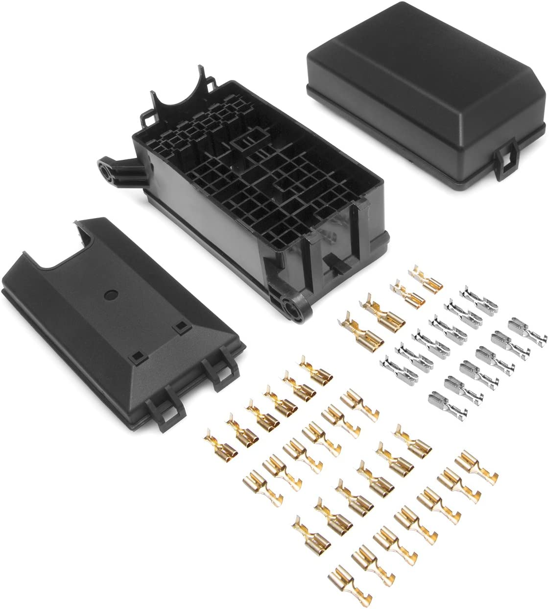12-Slot Relay Box 6 Relays 6 ATC//ATO Fuses Holder Block with 41pcs Metallic Pins