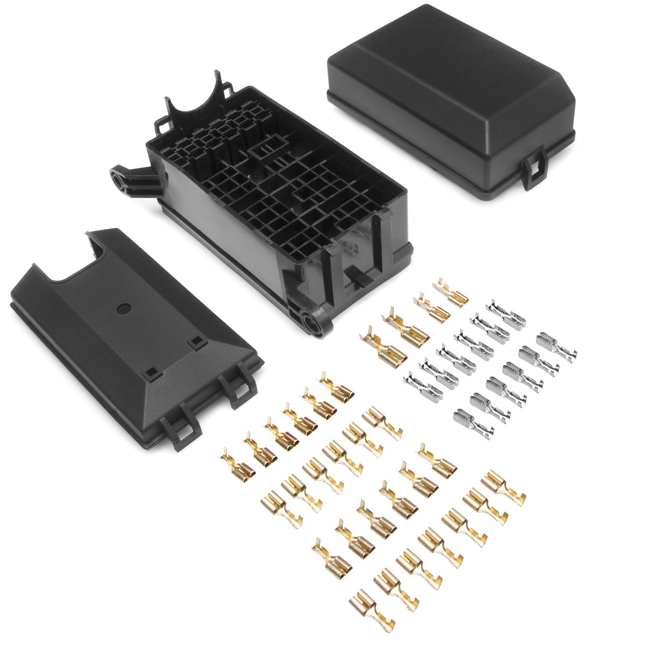 Relay Box 4-Slot 1 Relays /& 3 Fuses Holder Block with Metallic Pins for Automotive and Marine Engine Bay
