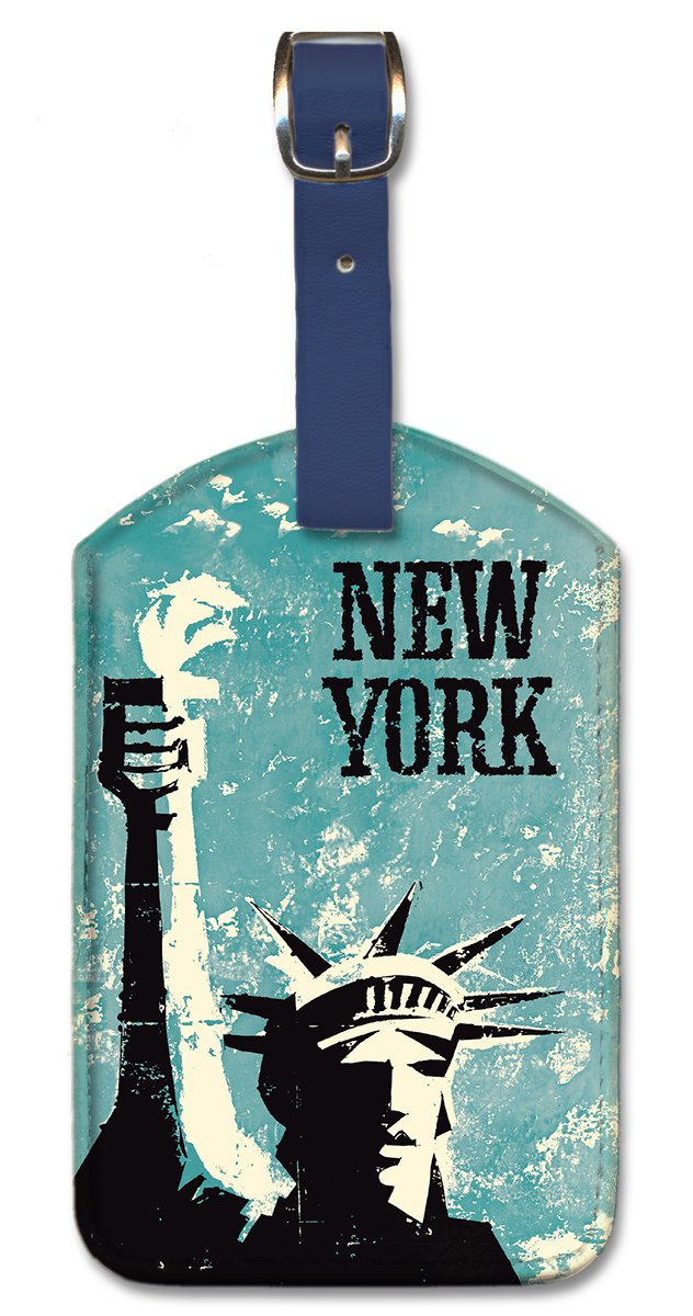 New York Pacifica Island Art Leatherette Luggage Baggage Tag