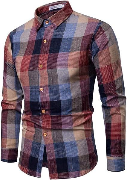 SO-buts Moda Para Hombre Otoño Invierno Manga Larga Casual Loose Fit Slim Blusa Camisa a Cuadros Top Impreso: Amazon.es: Ropa y accesorios