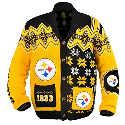 buy online f2e91 7b394 Pittsburgh Steelers NFL Adult Ugly Cardigan Sweater: Amazon ...