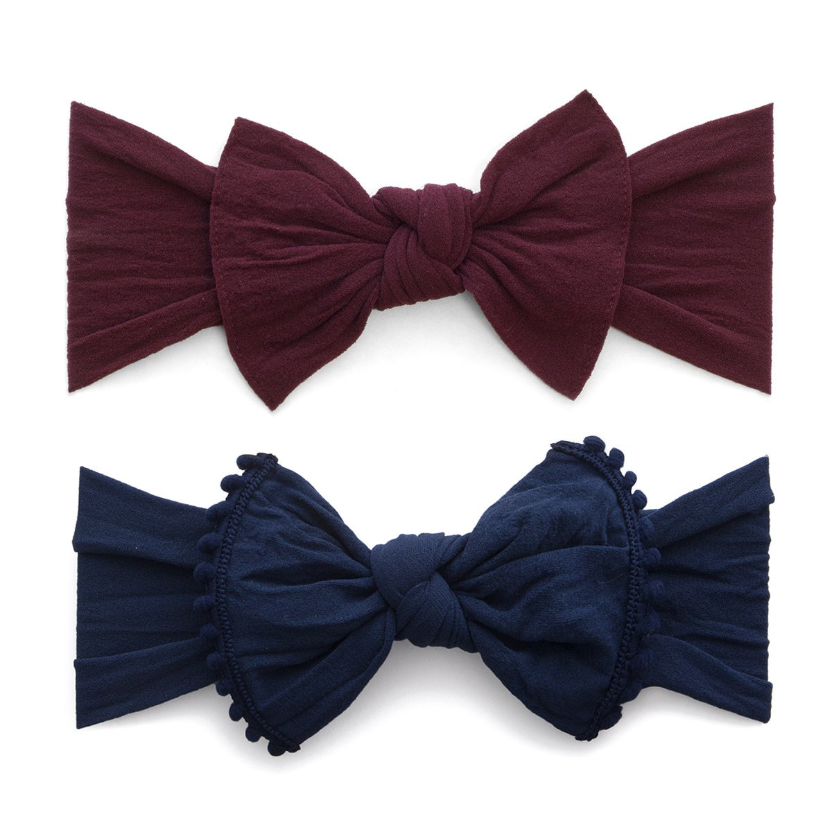 Baby Bling 2 Pack: Trimmed and Classic Knot Girls Baby Headbands - Burgundy/Navy
