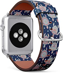 Compatible with Apple Watch (Small Version) 38 / 40mm Leather Wristband Bracelet with Stainless Steel Clasp and Adapters -Tribal Turtle