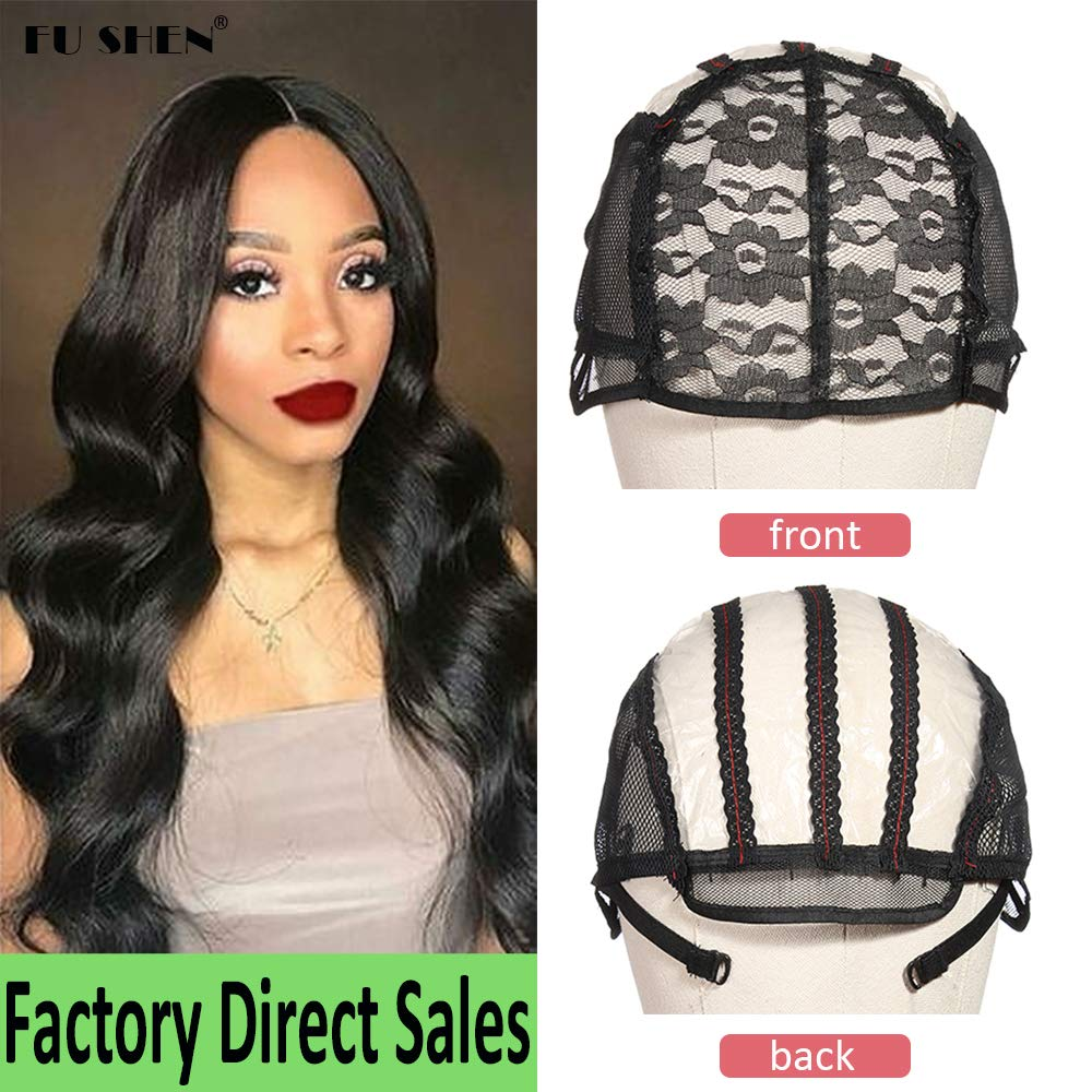 FU SHEN Wig Caps for Making Wigs, Black Swiss Lace Wig Cap with Adjustable Strap for Weave Wig Women Hairnets easy cap, Stretch Adjustable Open Wig Cap with PVC Paper for DIY Wig(1Pcs-M) by FU SHEN