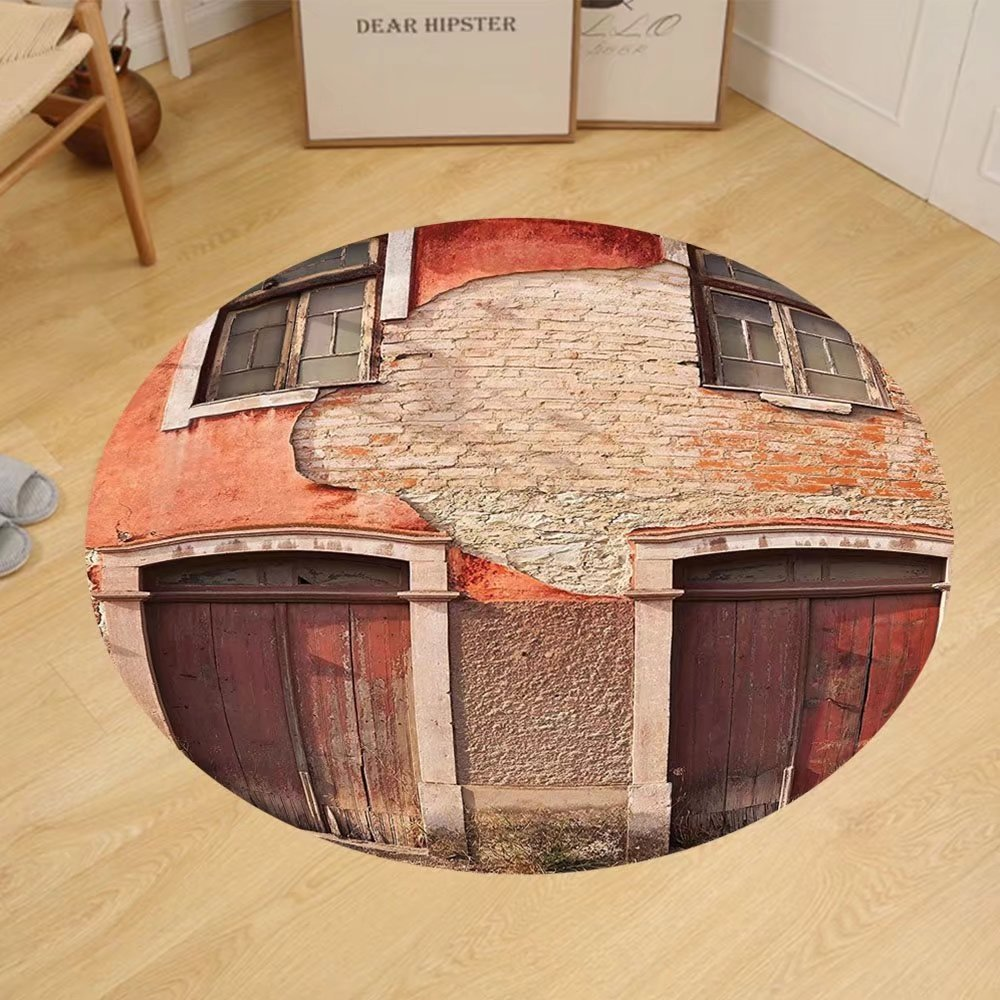 Gzhihine Custom round floor mat Rustic Decor Collection Abandoned Facade With Wood And Doors In Portugal Damaged Rust Bedroom Living Room Dorm