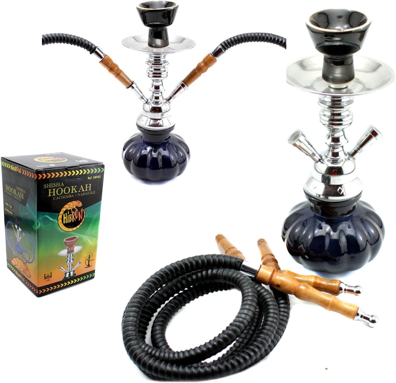 HIBRON® Cachimba shisha hookha pequeña 25cm 2 mangueras, kit de iniciación completa premium (negro)