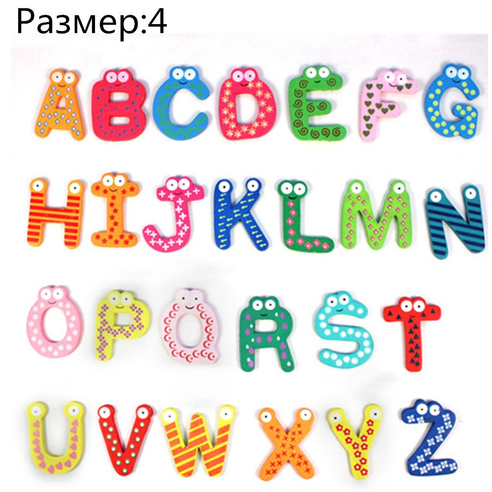 🌹Jonerytime🌹 Baby Toy 26 Letters Wooden Cartoon Fridge Magnet Kid Baby Educational Toy