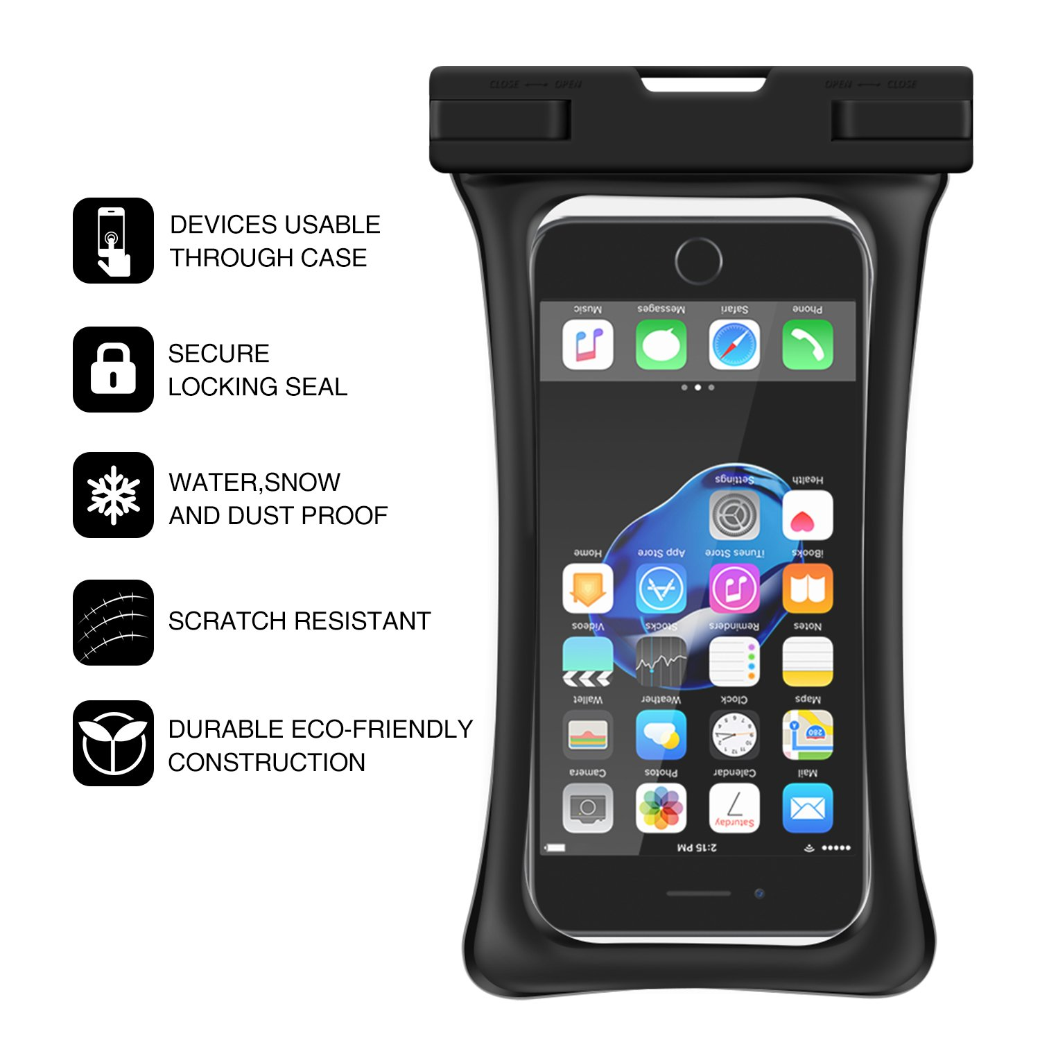 [Floating] Waterproof Phone Pouch, RANVOO Dry Bag Case for iPhone X 8 8 Plus 7 7 plus 6 6s 6 Plus, Samsung Galaxy S9 Plus S8 Edge Note 7, LG G5 G6,with Armband and Lanyard, Up to 6.2''- Black by RANVOO (Image #5)