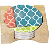 CounterArt Absorbent Coasters in Wooden Holder, Coral/Teal Quatrefoil, Set of 4