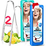 Best Tongue Scraper 2 Pack Professional Stainless Steel Metal Tongue Scraper Cleaner for Adults, Kids - with 2 Pack…