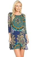 Cody Line Women's 3/4 Sleeve Print Side Pocket A-Line Tunic Dress