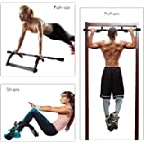 Hihill Door Gym, Pull Push Up Bar 8 Grips Exercise Bar Construction Sit Chin Up Bar 250lb Strength Training Upper Body and Core Work Out at Home, Portable Tough Steel with Soft Grip(IRG-01)