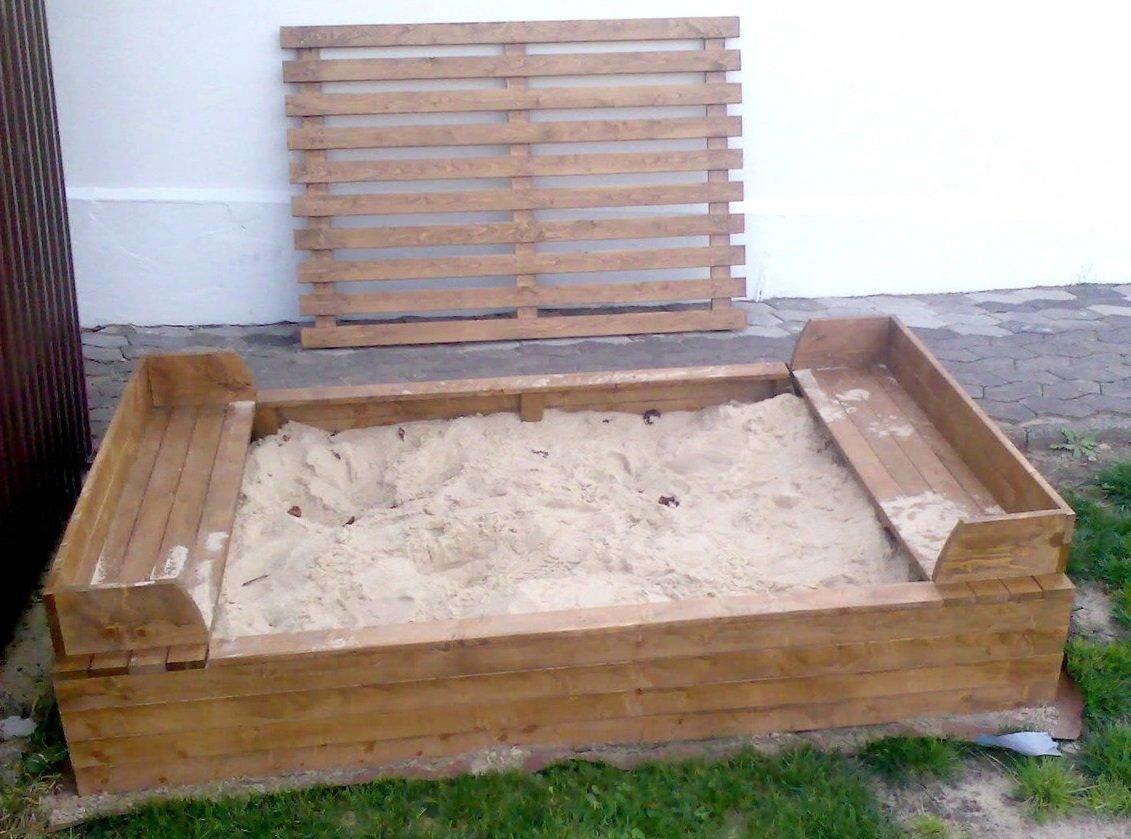 5.5.4.3023: prod. in BRD - Sandkasten mit Abdeckung - Sandkasten aus nordischer Fichte - Buddelkiste - Kindersandkasten mit Sitzbänken