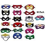 UCLEVER Masques de Super-Héros Masques Pour Enfant d'Oeil Masques Halloween Costume de Partie Demi-Masques avec Corde Élastique pour la Partie et Maternelle, 20 Pièces