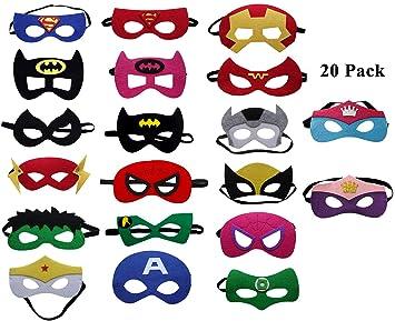 UCLEVER Máscaras de Superhéroe para Niños Fieltro de Ojos Medias Fiesta Máscara para Fiesta Mayores, 20 Piezas