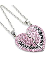 BeOnePlated Silver Mother Daughter Best Friends Forever Full CZ diamond Heart with Two Chains Pendant Necklace Engraved Letters Gift